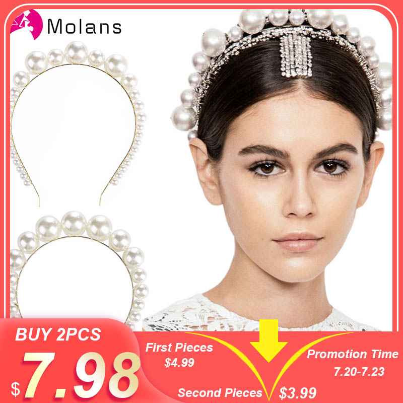 Molans Oversize Large Ivory White Pearl Headband Full Pearl Women Hair Band Crown Trendy Bridal   Headwear   Hair Accessories