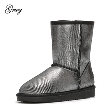 купить GRWG New Fashion 100% Natural Fur Genuine Leather snow boots for women Real Wool inside lady winter warm Boots Free shipping! дешево