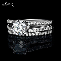 COLORFISH Simulated Diamond Ring Sets For Engagement 65 Tiny Stone Pave On 3 Row Eternal Wonem