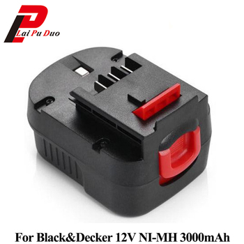 3.0Ah 12V Ni-MH Replacement Power Tool Battery for Black&Decker: FS120B,CP122K,A12,BD12PSK,FSB12,A12-XJ,HPB12,A12EX