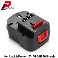 3.0Ah 12V Ni MH Replacement Power Tool Battery for Black&Decker: FS120B,CP122K,A12,BD12PSK,FSB12,A12 XJ,HPB12,A12EX