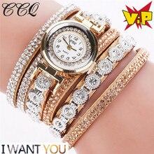 Women watches Luxury Dress Leather Fabric Gold Fashion Leather Casual Analog Women Rhinestone Watch relogios