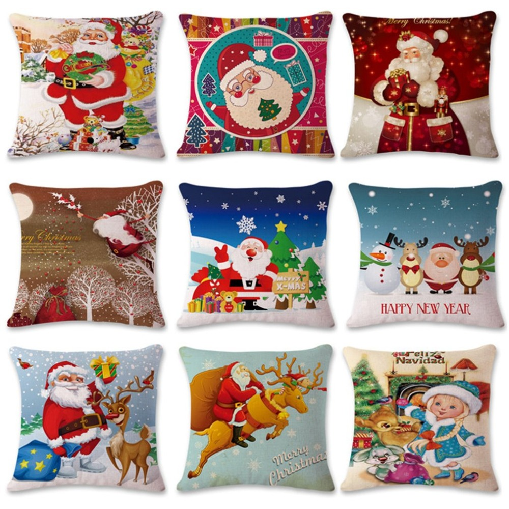 Fashion Christmas Design Cotton Linen Pillow Super Soft Car Office Sofa Cushion Pillow Home Decoration With LED