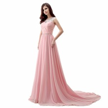 OBL178F#2017 new long dress Beaded gown dress hot years will show host dresses bridesmaid dresses wholesale cheap pink
