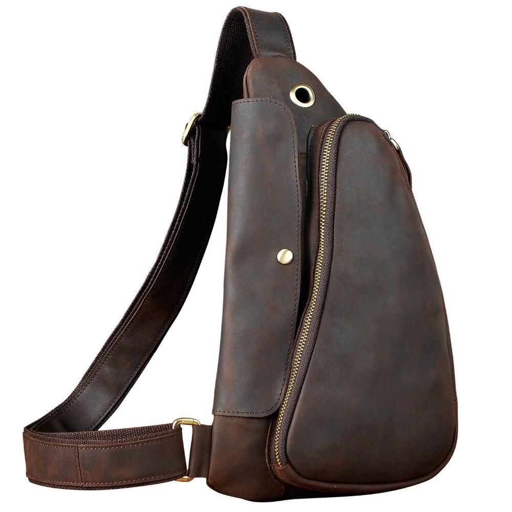 Mens Crazy Horse Leather Casual Fashion Waist Pack Chest Sling Bag Design One Shoulder Bag Crossbody Bag For Male 9976d slim fit design mega storage capacity holster shape chest bag for men armpit oxter sling bag