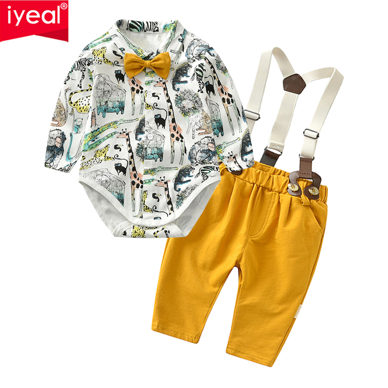 IYEAL Baby Boy Gentleman Clothes Set Autumn Suit For Toddler Kid Formal Party Bow Bodysuit Set 0-24 M Infant Boy Clothing 2PCS