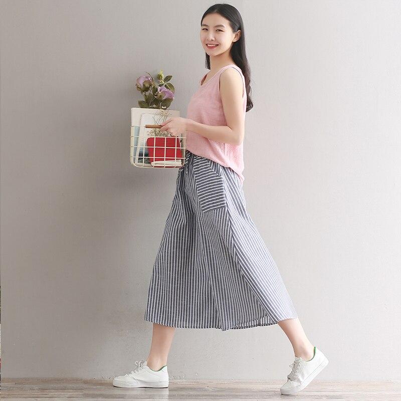 0acd155d1d Spódnice damskie lato Saia kobiety Midi spódnica z kieszeniami japonia Mori  dziewczyna paskiem bawełniane i lniane rocznika długie spódnice niebieski