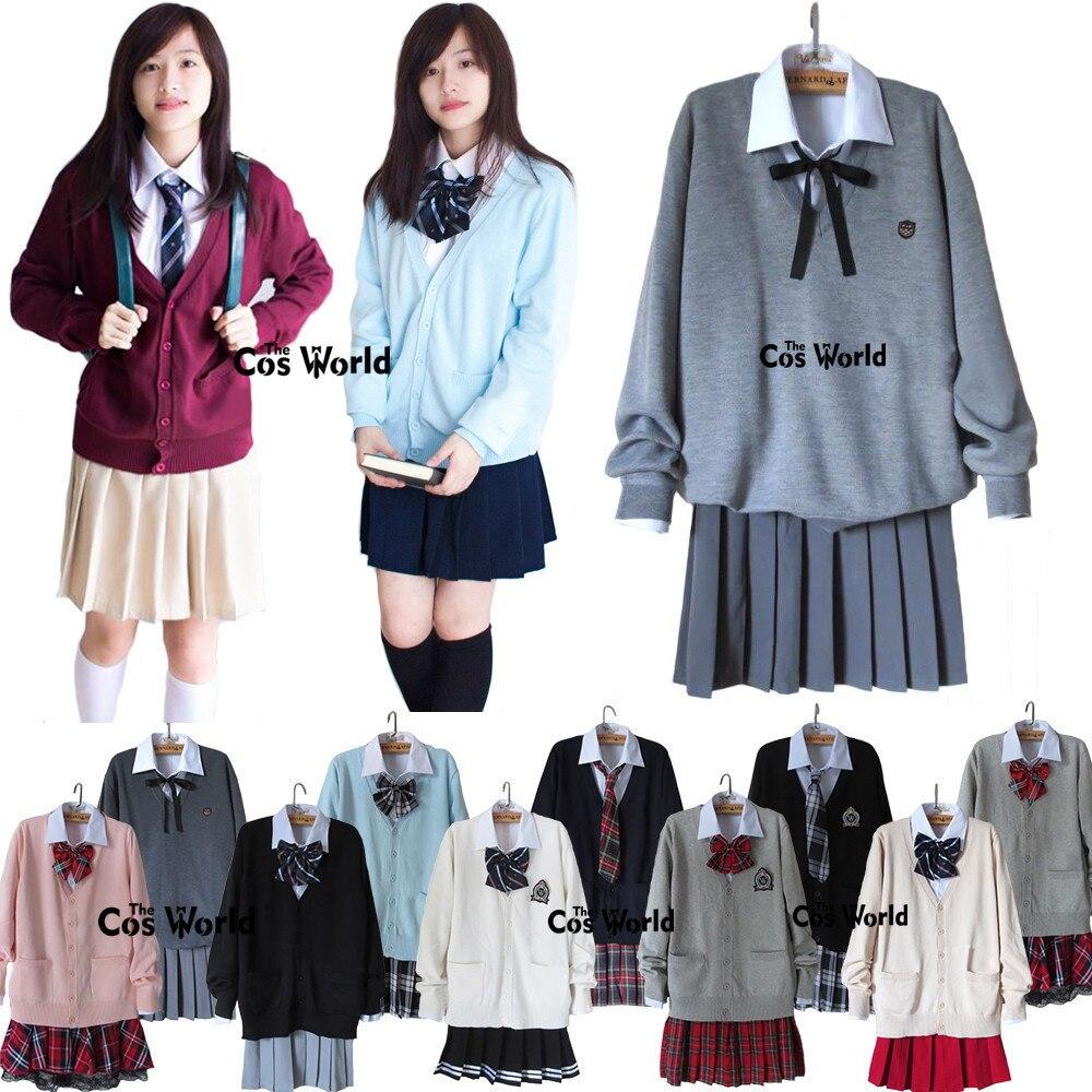 Automne hiver Janpan étudiant JK classe scolaire uniforme Cardigan chandail hauts chemise jupe/pantalon Couple ensemble amoureux costumes