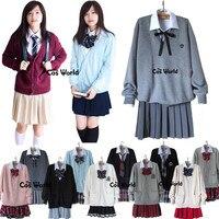 Autumn Winter Janpan Student JK School Class Uniform Cardigan Sweater Tops Shirt Skirt/Pants Couple Set Lovers Suits