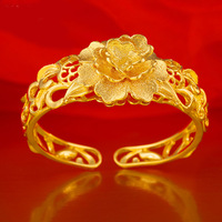Retro Bridal Bangle Yellow Gold Plated Hollow Out Flower Bracelet Fashion Cuff Bangle