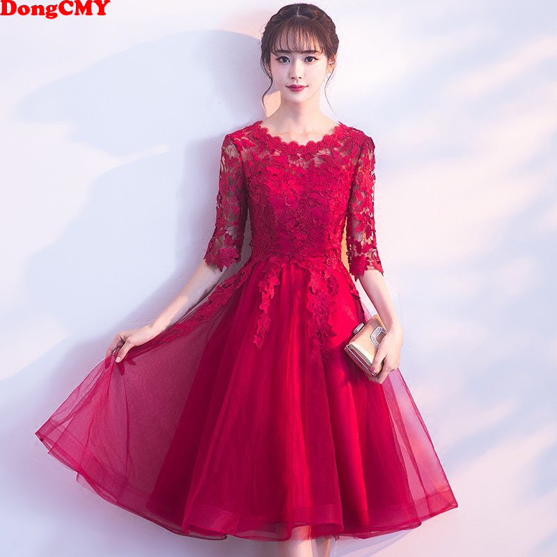 2019 New Arrival Party Sexy   Cocktail     Dress   Vestidos Short Lace Elegant Gown