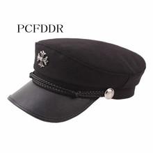 PCFDDR Female Beret Fashion Wool Fabric Cross PU Navy Cap.