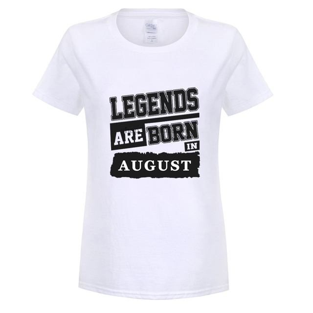 GILDAN Customize Tee Shirts Women Birthday Legends Are Born In August Crew Neck Hipster DIY Ideas 100cotton