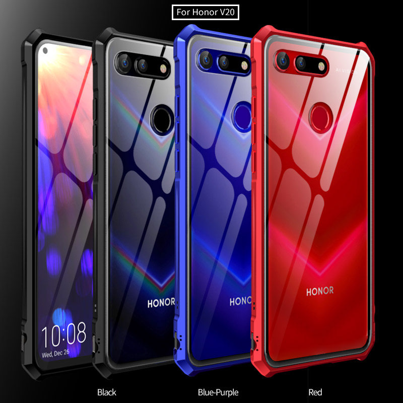 Clear Transparent 9H Hard Tempered Glass Case For Huawei Honor View 20 Luxury Metal Frame Bumper Case For Huawei Honor V20 Coque iphone xs 財布