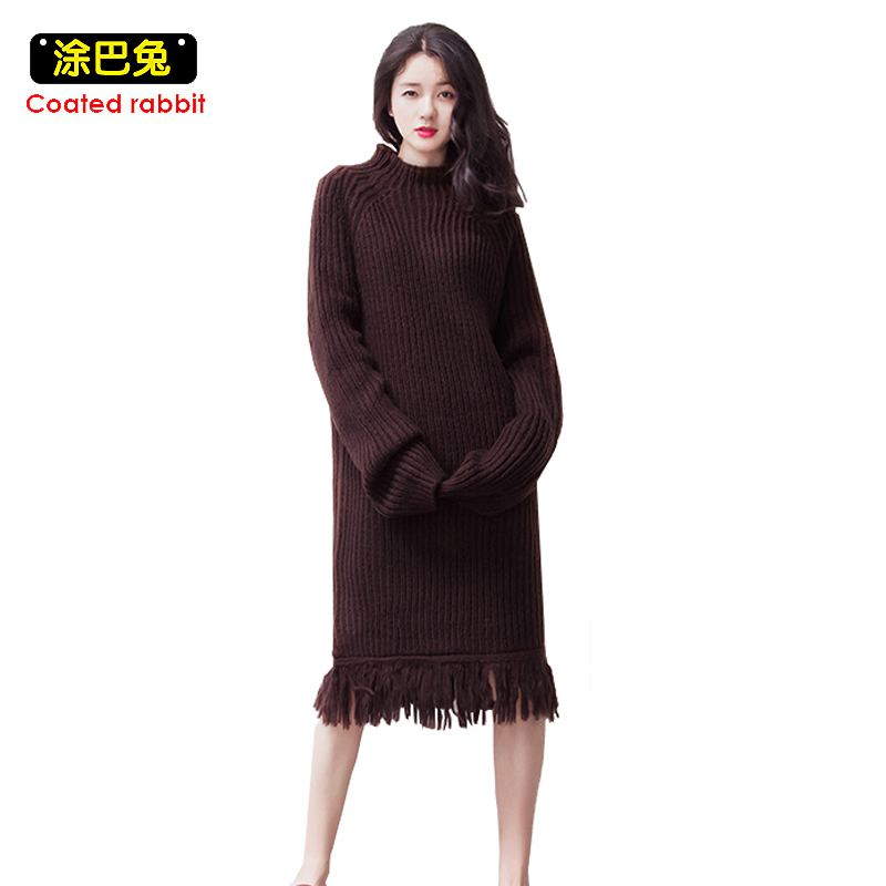 CR High Street Knitted Sweater Dress Women Winter Loose Tassel Dresses Turtleneck Pullovers Knitting Dress 2017 Lady