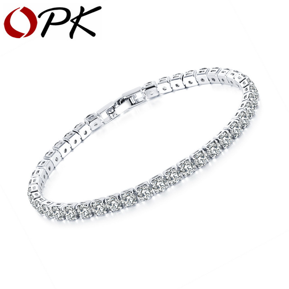 OPK Magnifique Zircon Tennis Bracelet Pour Les Femmes 3 Couleurs Demoiselle D'honneur De Mariage des Femmes/D'anniversaire/Bijoux De Mariée Cadeau DS984