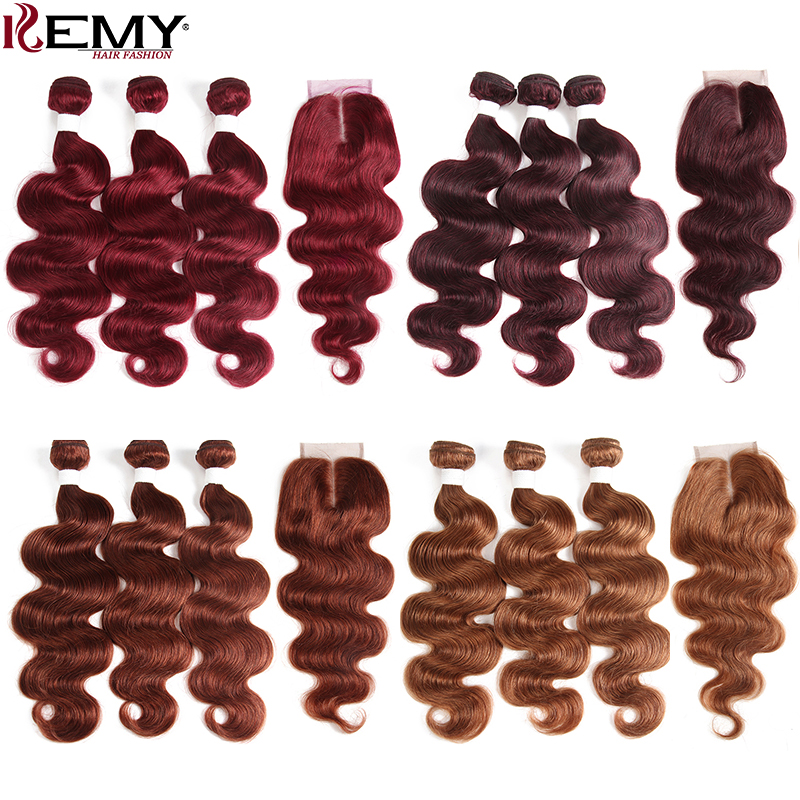 99J Burgundy Red Color Brazilian Body Wave Human Hair Bundles With Closure 4 4 KEMY HAIR
