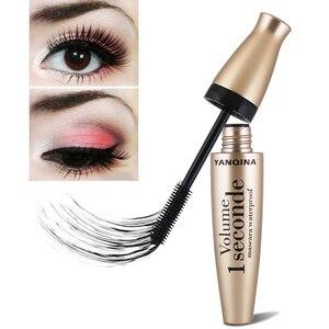 Image 2 - Máscara seda fibra 4D impermeable natural grueso rizado pestañas cabezal de cepillo de silicona maquillaje profesional máscara