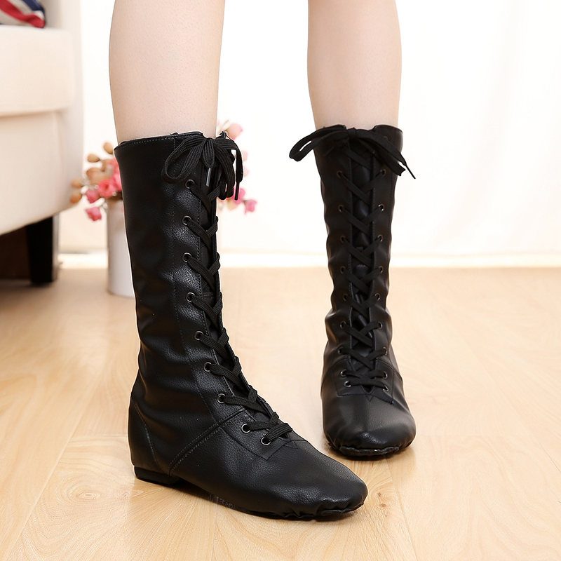 2019 Canvas PU Children Dance Boots New Style Jazz Dance Shoes Lace-ups Long Boot Black Gold Silver Stage Women Dance Shoes