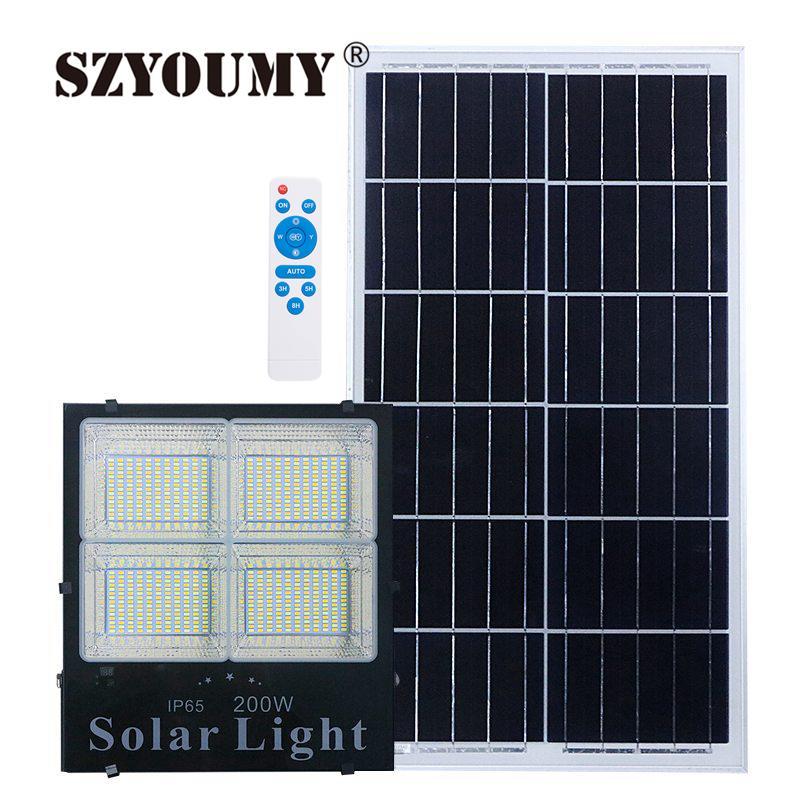 SZYOUMY New Solar Powered LED Floodlight 25W 40W 60W 120W 200W Led Solar Flood Light with Remote Control with Power Display