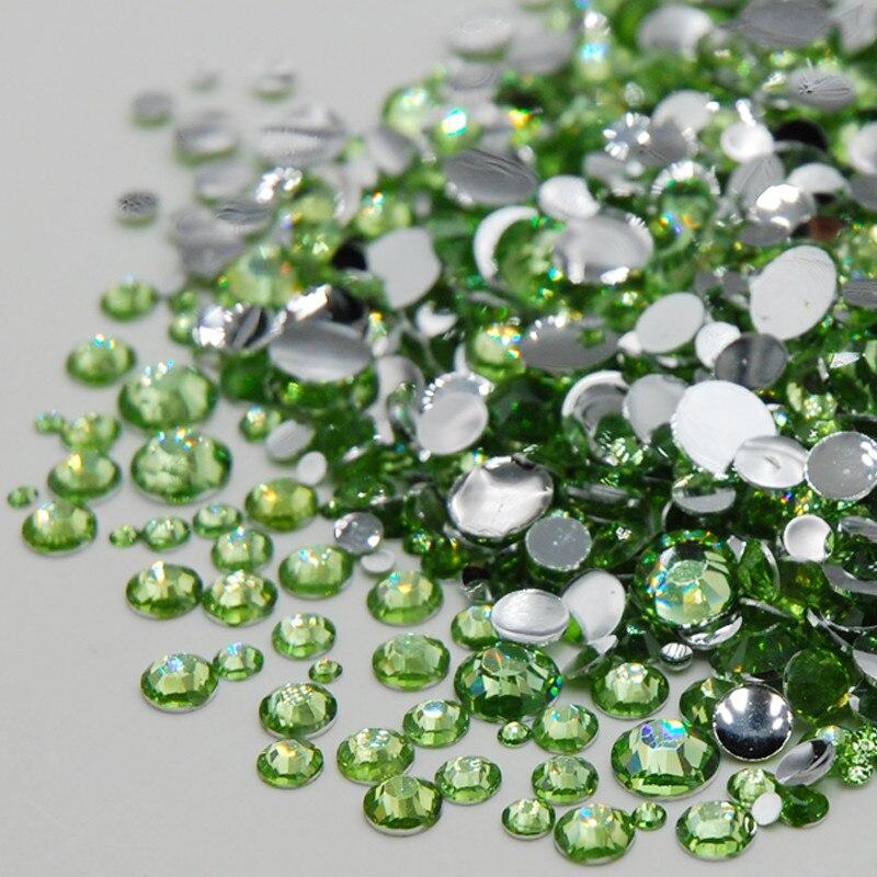 Hot Sale Mixed Sizes Light Emerald Color Acrylic 3D font b Art b font Rhinestones Non