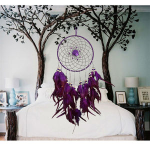 New Design Purple Dreamcatcher Wind Chimes Indian Style Feather Pendant Dream Catcher Gift For Home Decoration
