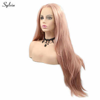 Sylvia Long Straight Wig Heat Resistant Synthetic Hair Pink Lace Front Wigs For Women Flawless Hairline Cosplay Glueless Wig - SALE ITEM Hair Extensions & Wigs