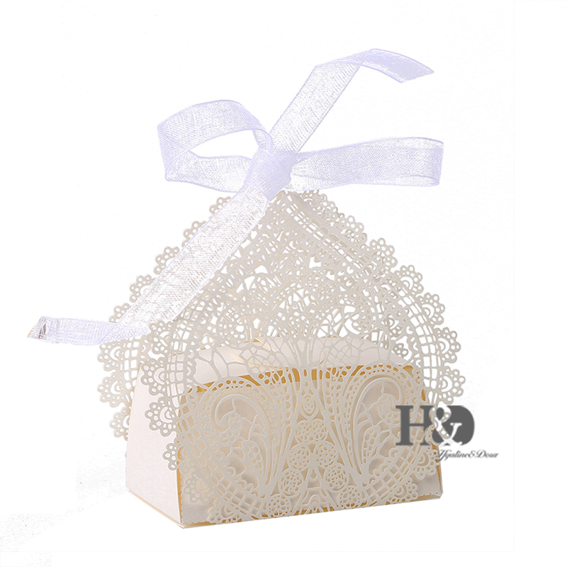 High Quality 120Pcs Flower Love Heart Laser Cut Favor Candy Box Bomboniere with Ribbons Bridal Shower