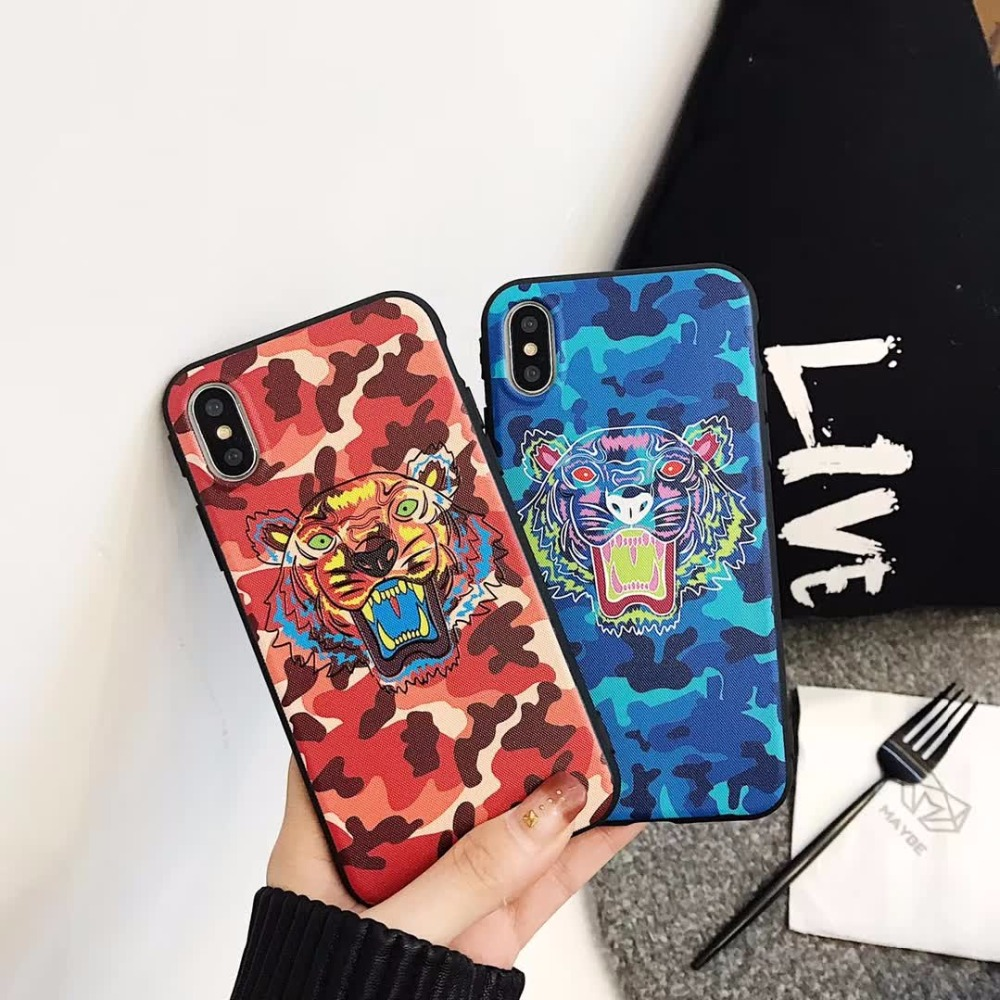YUKIRIN Luxury Fashion Camouflage Tiger Head Case Relief TPU Case For iPhone 6 6s 7 8 Plus X Phone Cases Cover + Wrist Strap