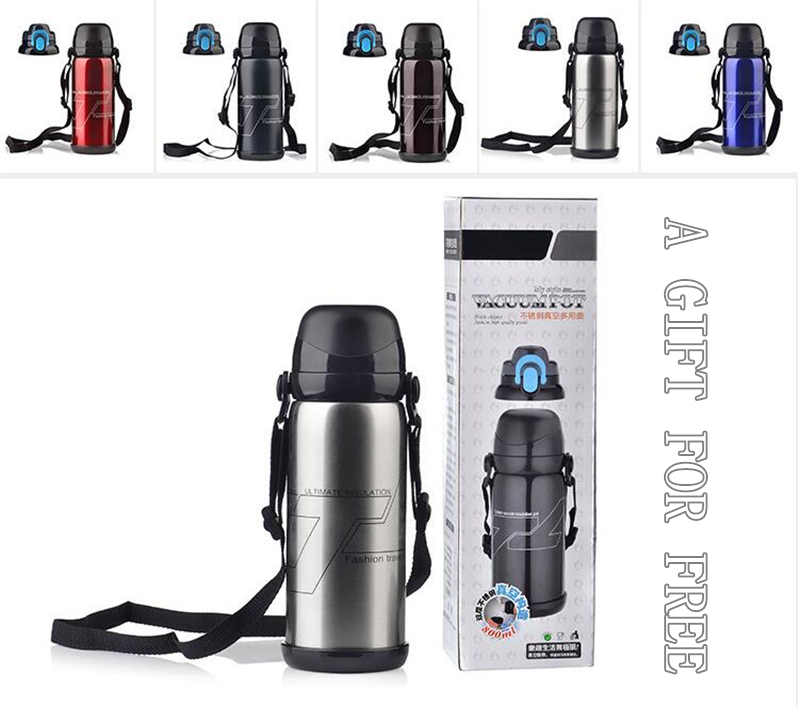 5 Color Stainless Steel Insulated Thermos Bottle 800ml Thermo Vacuum Flask Thermoses Thermal Coffee milk Mountaineering
