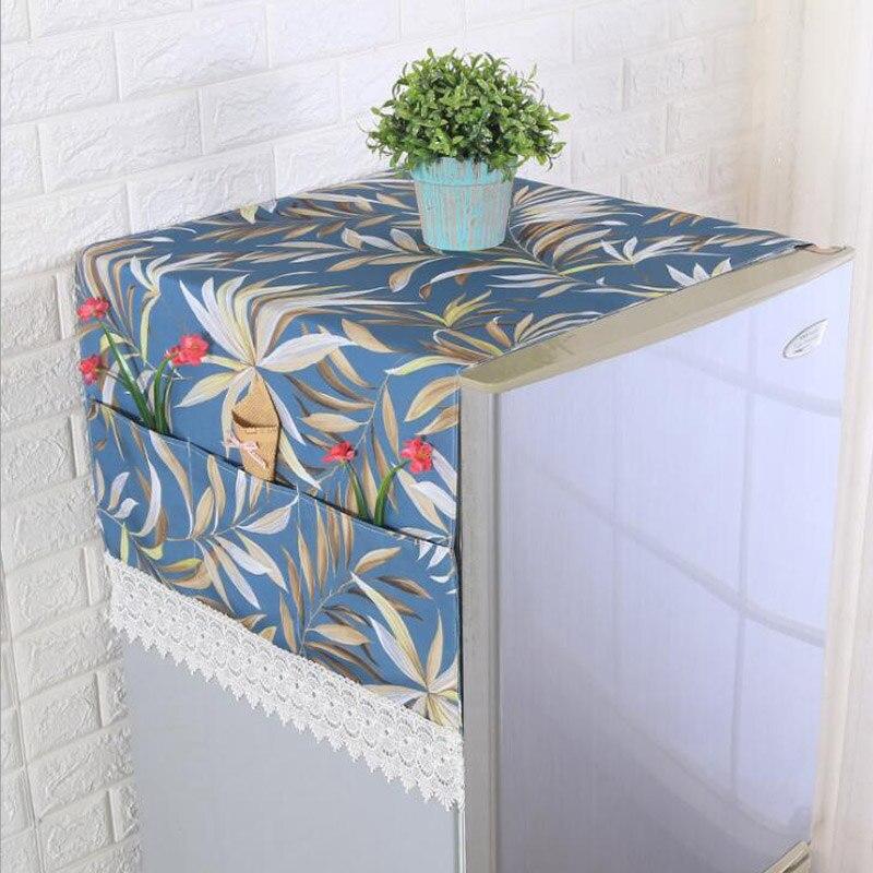 Ijverig Blad Patroon Koelkast Doek Enkele Deur Koelkast Stofkap Pastorale Dubbele Open Handdoek Wasmachine Cover Handdoek 1 Pcs