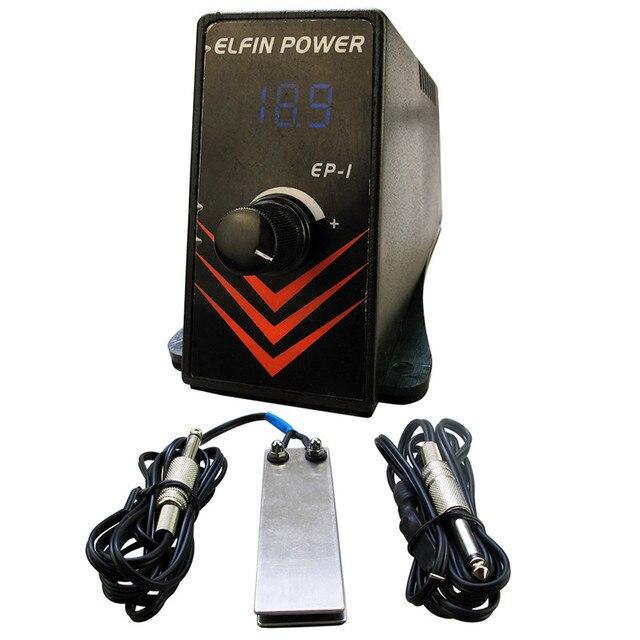 Professioanl Tattoo Power Supply Set Kit Mini ELFIN Tattoo Power Supply LCD Digital Foot Pedal Switch Clip Cord Tattoo Supply