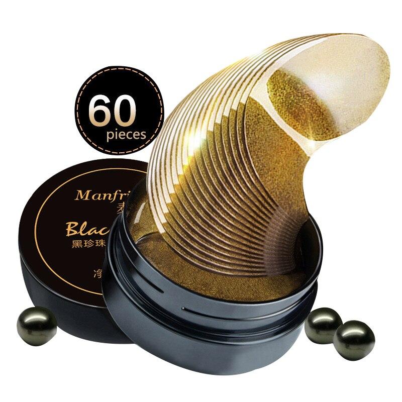 60 stücke Natürliche Schwarz Perle Kollagen Augen Maske Anti-falten Schlafen Augenklappe Augenringe Auge Taschen Reparatur Gold gel Maske Augen Pflege