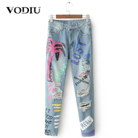 jeans woman high waist slim hole ripped print letter graffiti loose Ankle pants girl colorful spring autumn denim trousers jeans