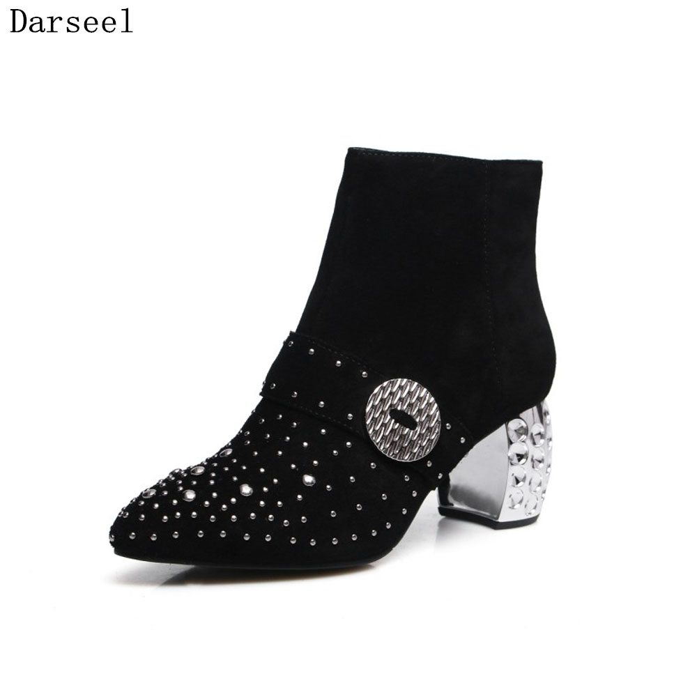 Darseel Big Size Winter Boots Women Fashion Beading Rhinesone Pointed Toe Suede Zipper Ankle Boots High Heel Lady Work Shoes цены онлайн