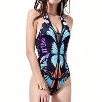 Sexy Vlinder Print Backless Diepe V-hals Plunge Een stuk Swimwear Bikini Halter Hollow Strap Lace Up Zwemmen kleding