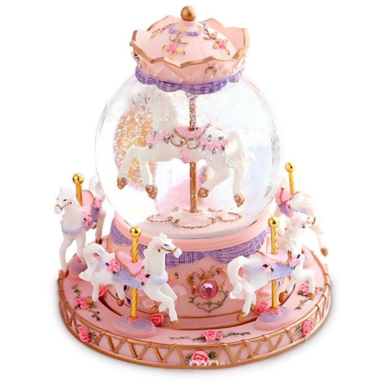 Boîte à musique 1-cheval carrousel boîte à musique 18 tons créatif Artware pour anniversaire/noël/enfants cadeaux livraison directe 2019