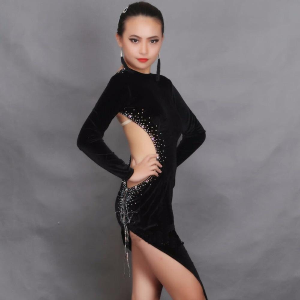 New Arrival Latin Dance Dresses For Ladies Black Colors Velvet Diamond Skirts Wholesale Women Economic Trot Ballroom Dress 1184