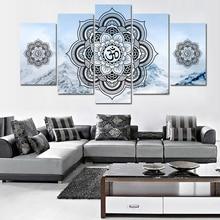 5 Piece Printed canvas painting HD OM buddha Mandala home decor print poster framework wall art
