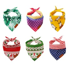 Pet Triangle Scarf Polyester Bibs Soft Collar Bandanas For Puppy Cats Neck Ornament