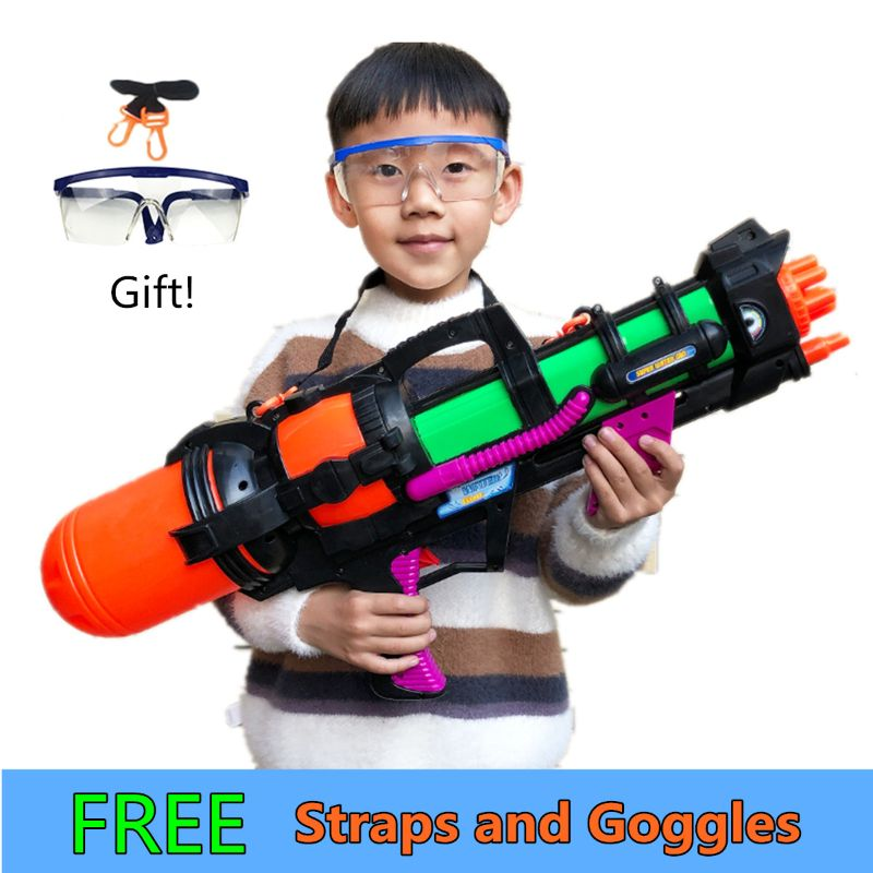 """24"""" Jumbo Blaster Water Gun With Straps Goggles Kids Beach Squirt Toy Boys Favor"""