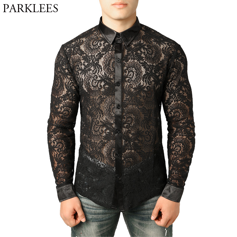 Men's Mesh See Through Fishnet Clubwear Shirts Slim Fit Long Sleeve Sexy Lace Shirt Men Party Event Prom Transparent Chemise 2XL