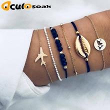 5pcs/Set Bohemian Shell Moon Bracelet Set Fashion Pop Womens Gift Vintage Party 2019