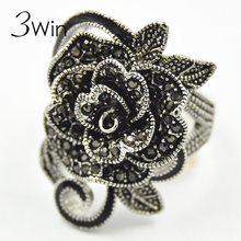 WinWinWin Brand National Restoring Ancient Wind Women Jewelry Antique Silver Creative Black Vintage Rose Flower Rings for Women