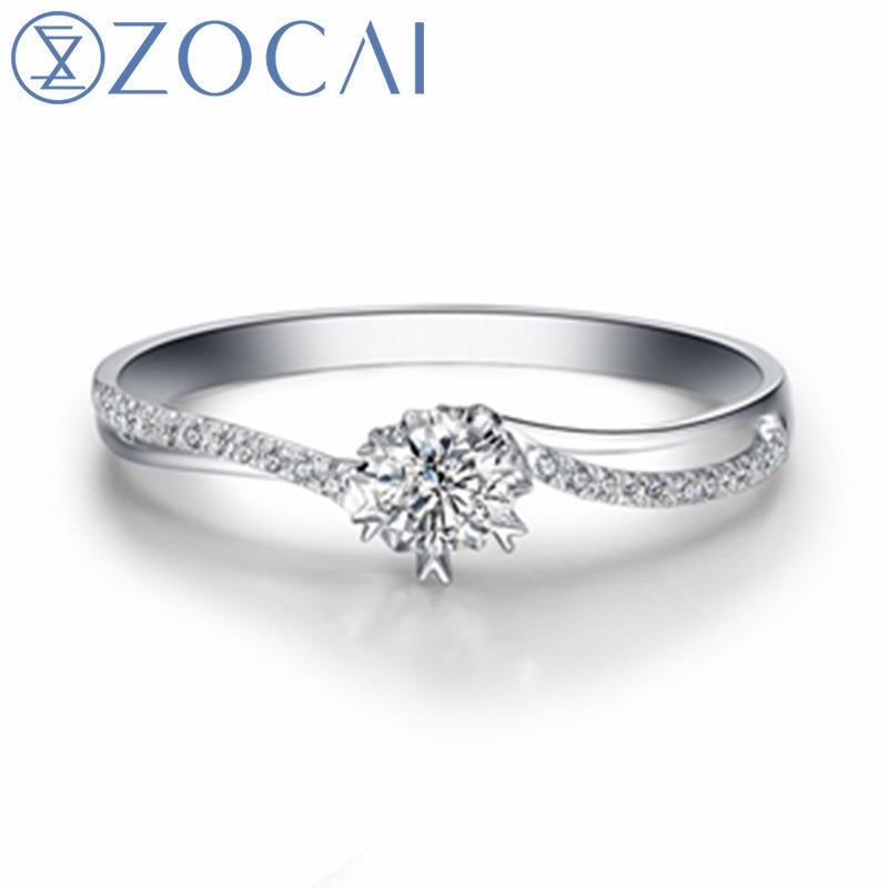 Bague de mariage ZOCAI certifiée véritable diamant véritable 0.35CT bague de fiançailles en or blanc 18 K bague en diamant W00121