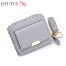 Berno fly Brand 2017 Women's purse for coins female wallet small tassel wallets zipper short women luxury brand bolsa feminina