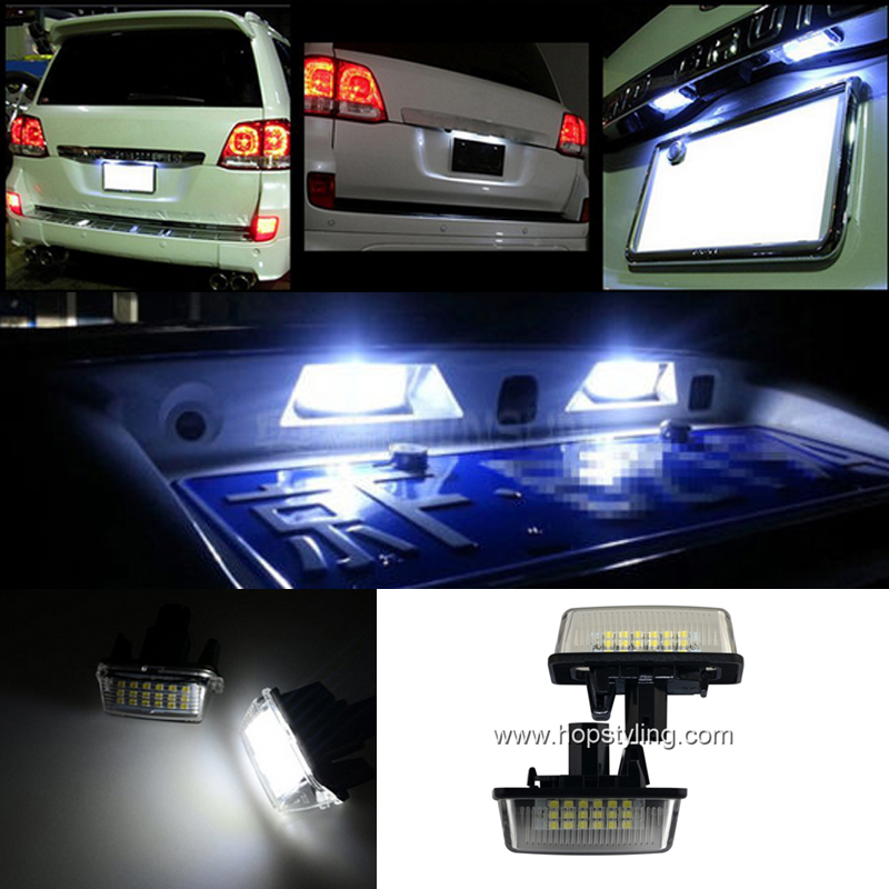 Free shipping 2x LED Car rear number plate light Free Error For Toyota Crown Camry Corolla replacement car license plate light