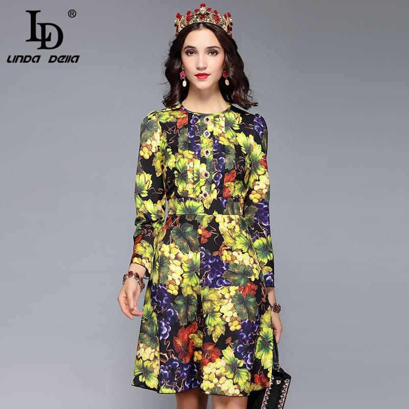 2018 Autumn Pretty Print Grape Dress Women High Quality Sweet Three Quarter Sleeve Above Knee Mini Female Cute Dress In Many Styles Dresses