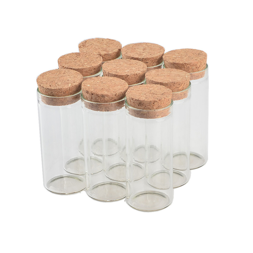 50 pcs 30x70 mm 30ml Flat Bottom Glass Tube Bottles With Corks Wishing Stars Decorative Vials