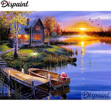 Dispaint Full Square/Round Drill 5D DIY Diamond Painting House boat Embroidery Cross Stitch 3D Home Decor A10379